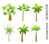 decorative palm trees icons set ... | Shutterstock .eps vector #181832558