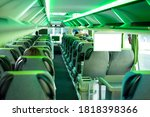 Modern Tourist Bus With Green...