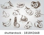 apple,apricot,background,banana,collection,design,doodle,element,figs,food,fresh,fruits,grapes,graphic,handmade