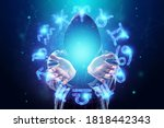 Small photo of Sorcerer, magician and 12 signs of the zodiac, hologram neon horoscope signs on a blue background. with the concept of fate, predictions, fortune teller