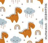 seamless pattern with dinosaur...   Shutterstock .eps vector #1818449546