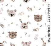 seamless pattern with boho...   Shutterstock .eps vector #1818449549