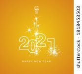 happy new year 2021 firework... | Shutterstock .eps vector #1818453503