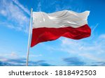 Large poland flag waving in the ...