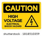 caution high voltage electrical ... | Shutterstock .eps vector #1818510359
