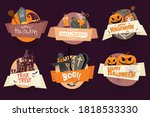 vector set of halloween party... | Shutterstock .eps vector #1818533330