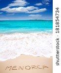 menorca word written on sand of ... | Shutterstock . vector #181854734