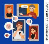 cyberbullying or cyber... | Shutterstock .eps vector #1818556109