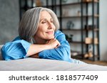 Happy Relaxed Mature Old Woman...
