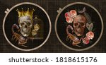 golden crown  roses  skull ... | Shutterstock .eps vector #1818615176