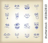 emoticons   sketch on an old... | Shutterstock .eps vector #181862810