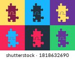 Pop Art Piece Of Puzzle Icon...