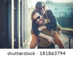 young modern stylish couple... | Shutterstock . vector #181863794