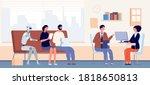 job interview queue. people and ...   Shutterstock .eps vector #1818650813