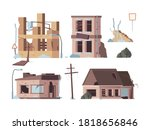 abandoned houses. old trouble... | Shutterstock .eps vector #1818656846