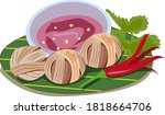 moo sa rong deep fried wrapped ... | Shutterstock .eps vector #1818664706