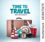 time to travel vector banner...   Shutterstock .eps vector #1818673670