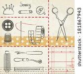 Vintage Hand Drawn Sewing...