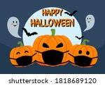 pumpkins wearing medical face... | Shutterstock .eps vector #1818689120