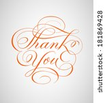 thank you card hand lettering... | Shutterstock .eps vector #181869428