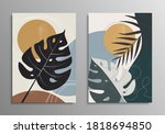 set of posters with monstera...   Shutterstock .eps vector #1818694850