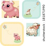 little pig and sheep | Shutterstock .eps vector #181871990