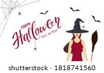 beautiful witch with vampire... | Shutterstock .eps vector #1818741560