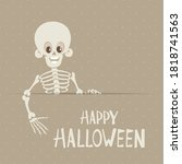 cute skeleton stands behind the ... | Shutterstock .eps vector #1818741563