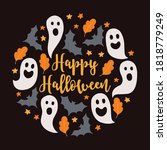 halloween card with ghosts ... | Shutterstock .eps vector #1818779249