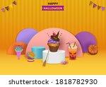 halloween party with dessert...   Shutterstock .eps vector #1818782930