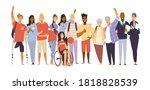 cheering multiracial crowd of... | Shutterstock .eps vector #1818828539