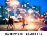 defocused blue bokeh urban city ... | Shutterstock . vector #181886678