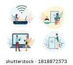 set of banners with people... | Shutterstock .eps vector #1818872573