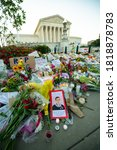 Small photo of WASHINGTON SEPTEMBER 20, 2020 – Notes and flowers are left at the Supreme Court of the United States in memory of the late Supreme Court Justice Ruth Bader Ginsburg in Washington DC on September 20, 2