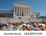Small photo of Washington, DC – September 20, 2020: Some of the impromptu memorials at the Supreme Court Building honoring the passing of Justice Ruth Bader Ginsberg.