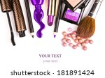 makeup brush and cosmetics  on... | Shutterstock . vector #181891424