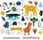 baby animals pattern. fabric...   Shutterstock .eps vector #1818955076