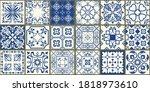 set of 18 tiles azulejos in... | Shutterstock .eps vector #1818973610