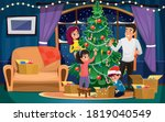 happy smiling family decorating ... | Shutterstock .eps vector #1819040549