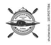 vector mountain river kayaking...   Shutterstock .eps vector #1819057586