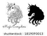 silhouette of a unicorn and... | Shutterstock .eps vector #1819093013