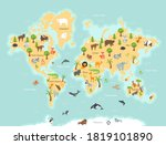 world map with wild animals and ... | Shutterstock .eps vector #1819101890