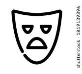 tragic mask outline icon....