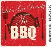 vintage bbq card  vector... | Shutterstock .eps vector #181916210