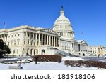 Stock photo capitol building in snow washington dc united states of america 181918106