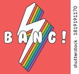 rainbow lightning with bang... | Shutterstock .eps vector #1819191170