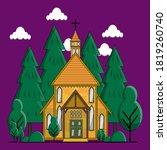 chrishtian church building with ... | Shutterstock .eps vector #1819260740