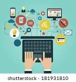 human hand with a laptop... | Shutterstock .eps vector #181931810