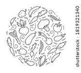 hand drawn set of vegetable... | Shutterstock .eps vector #1819321340
