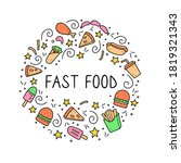 hand drawn frame of fast food... | Shutterstock .eps vector #1819321343